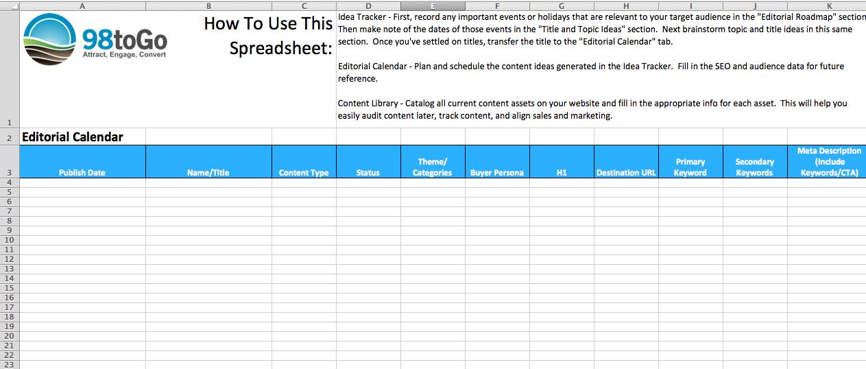 Editorial Calendar Template ToGo - Content marketing calendar template